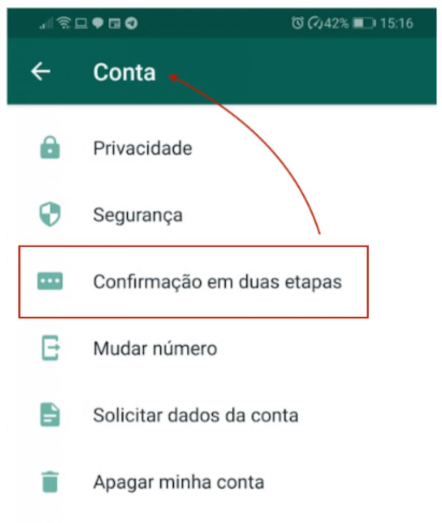 Whatsapp autenticação em 2 etapas